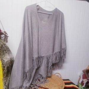 LIGHT GREEN FRINGED PONCHO One Size Fits all